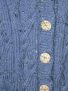 Blue Aran Jacket Cable Detail