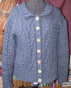 Blue Aran Lovely Cable Jacket