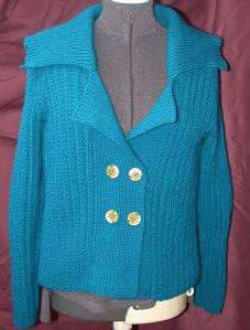 Blue Green Ribbed Jacket