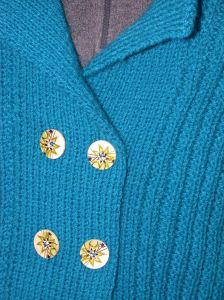 Blue Green Ribbed Jacket Detail